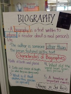 Features Of Biography Vs Autobiography Anchor Chart