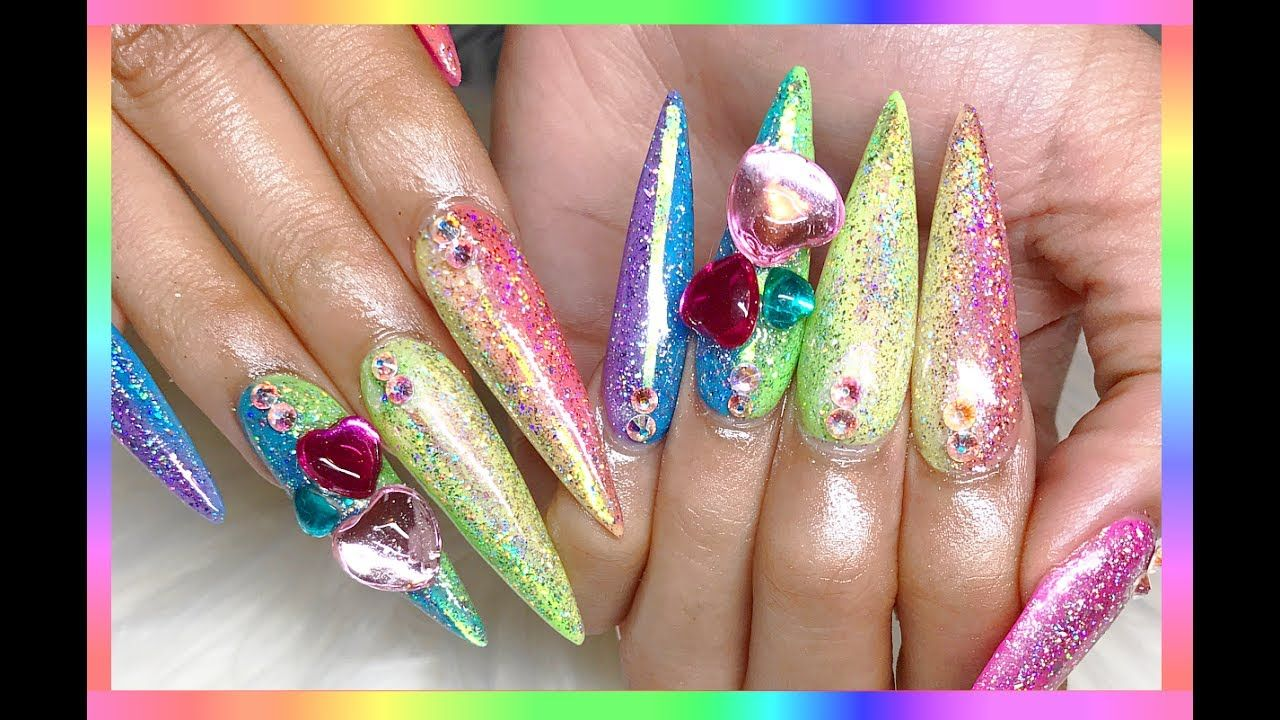 ♡ Vertical Rainbow Galaxy Holo Acrylic Nails ♡ | Items Review ...