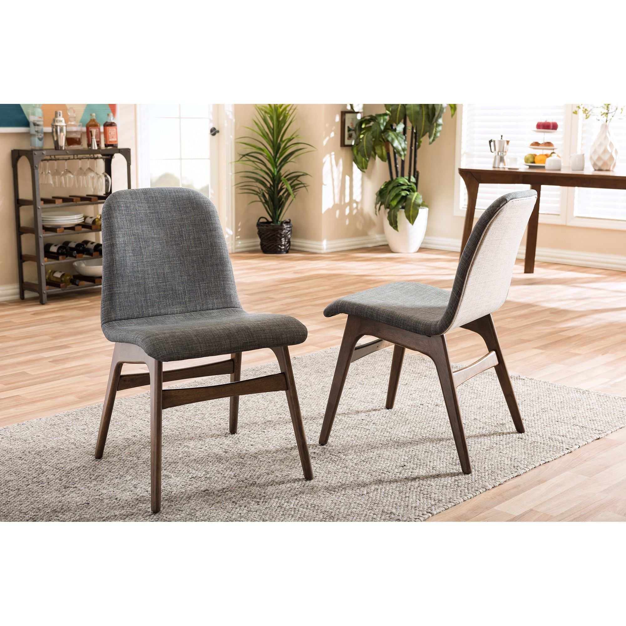 Baxton Studio Embrace Mid Century Retro Modern Scandinavian Style Dark Grey  Fabric Upholstered Walnut Finish Dining Chair Set, 2 By Baxton Studio