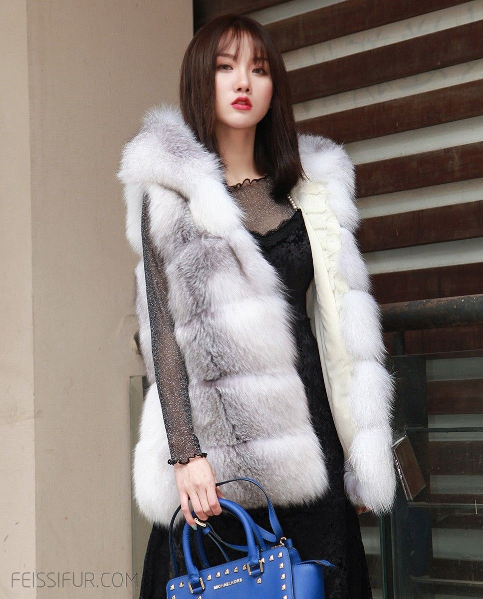 ece5c44f31 Real Fur Coat & Jacket | Shadow Blue Frost Fox Fur Hooded Vest | 0003 | Fur  Shop Online