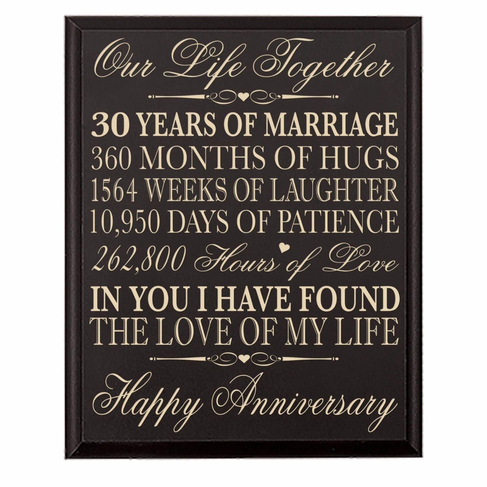 30th Wedding Anniversary Wall Plaque Gifts For Couple 30 Wedding