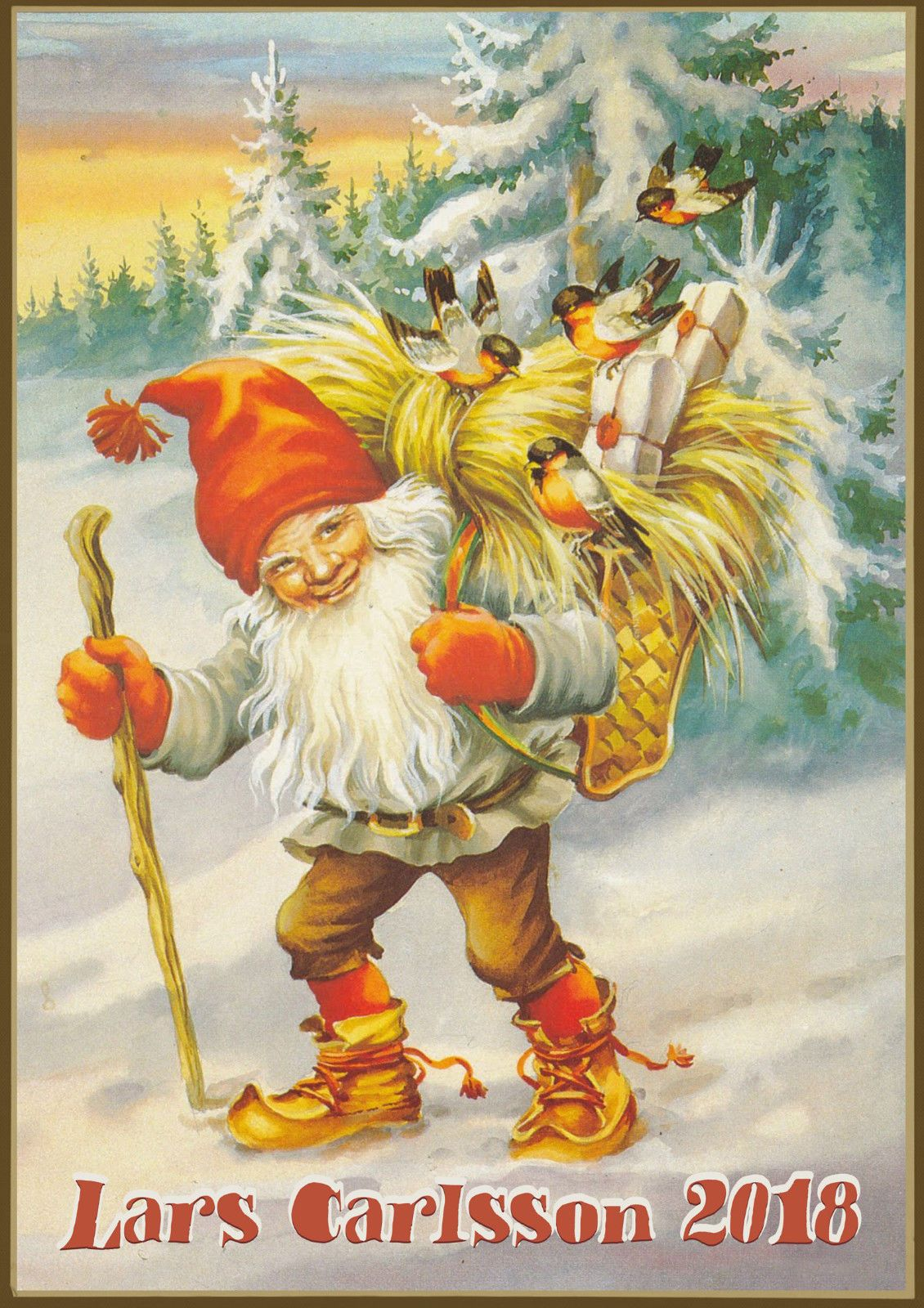 2021 Wall Calendar 12 Pages A4 Winter Gnomes Dwarf Lars Carlsson Vintage M710 Christmas Art Gnomes Scandinavian Christmas