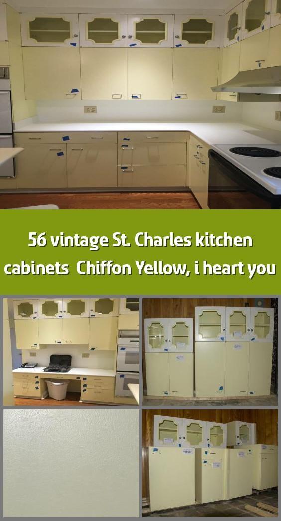 56 vintage St. Charles kitchen cabinets & Chiffon Yellow ...