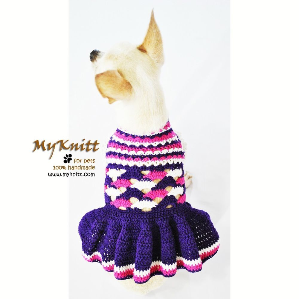 Ruffle Dog Dresses Purple Unique Crochet Handmade Pets Clothing ...