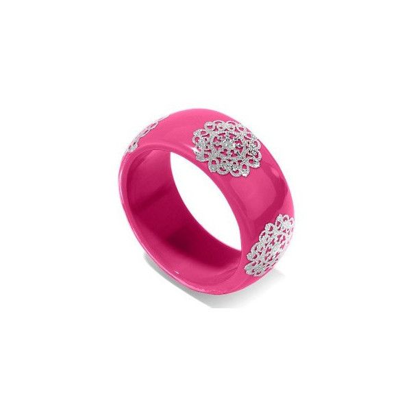 """Hot Pink Bangle Bracelet Silver Design 7.75"""" Teens Tweens Women Gift... ($22) ❤ liked on Polyvore featuring jewelry, bracelets, silver hinged bangle, silver jewellery, silver bracelet bangle, vintage silver bangles and silver jewelry"""