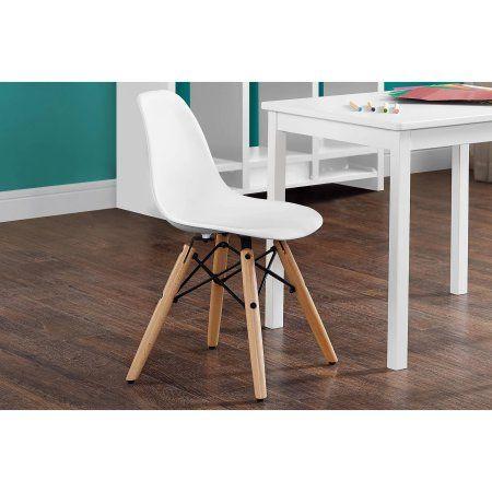 Kids Retro Molded Chair with Wood Leg, Multiple Colors Kids Desk