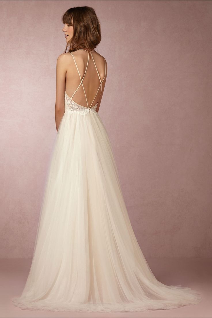 love the pretty, delicate back of this wedding gown. bhldn