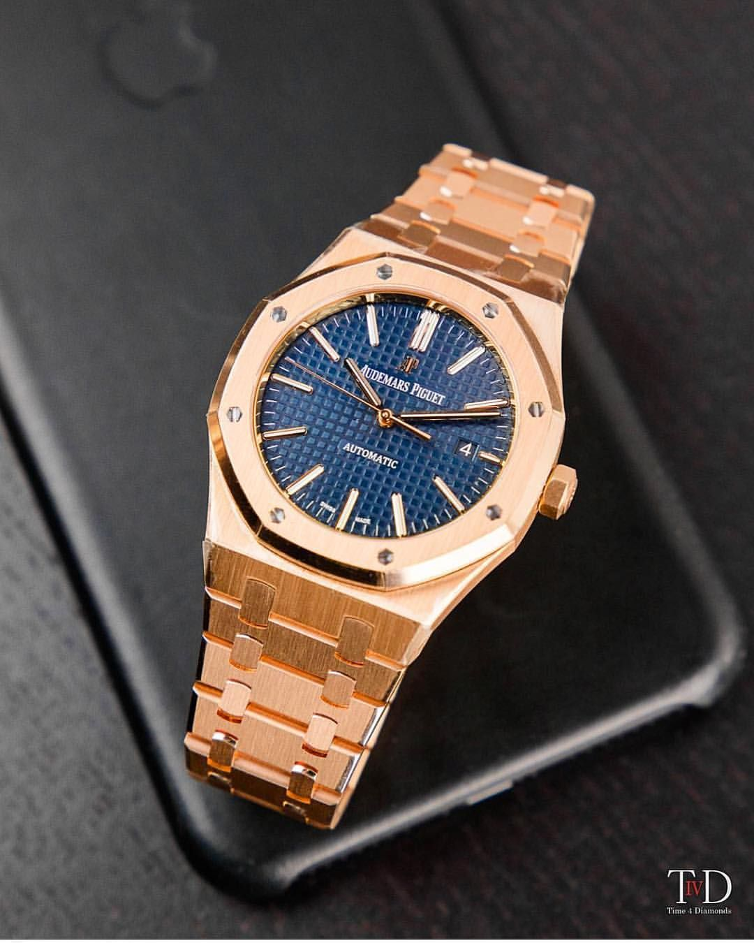 The 41mm Audemars Piguet Royal Oak In Rose Gold With Blue Dial