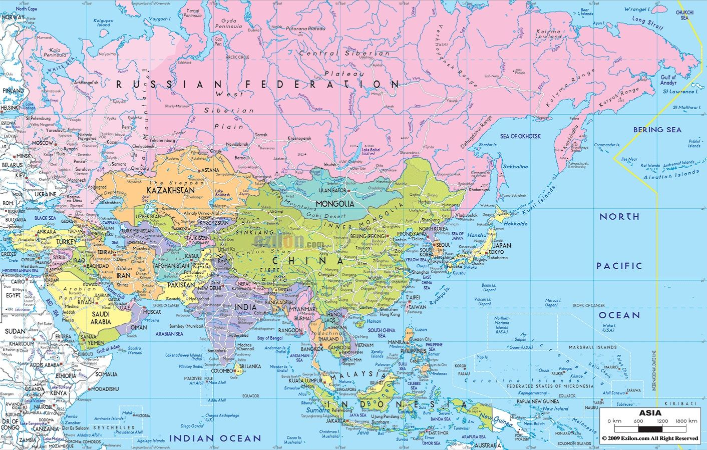 The Continent Of Asia Map.Political Map Of Asia Maps Asia Map Map Country Maps