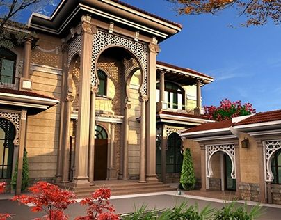 Villa khaled exterior design in doha qatar plans for Modern classic house exterior design