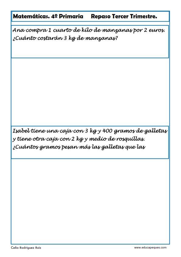 Fichas de Matemáticas Cuarto Primaria   Fichas de ...