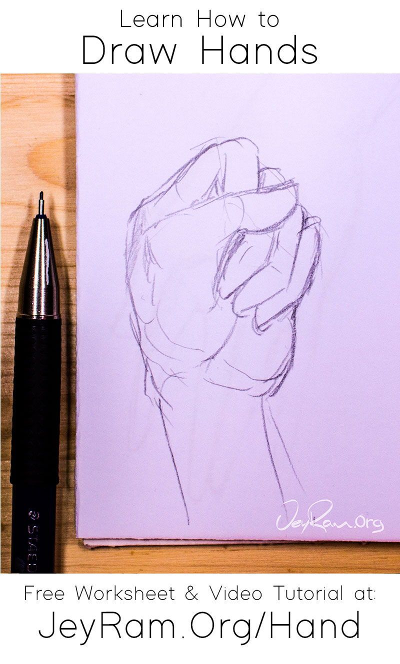 How To Draw Hands Free Worksheet Video Tutorial In 2020 How To Draw Hands Sketches Tutorial Free Hand Drawing