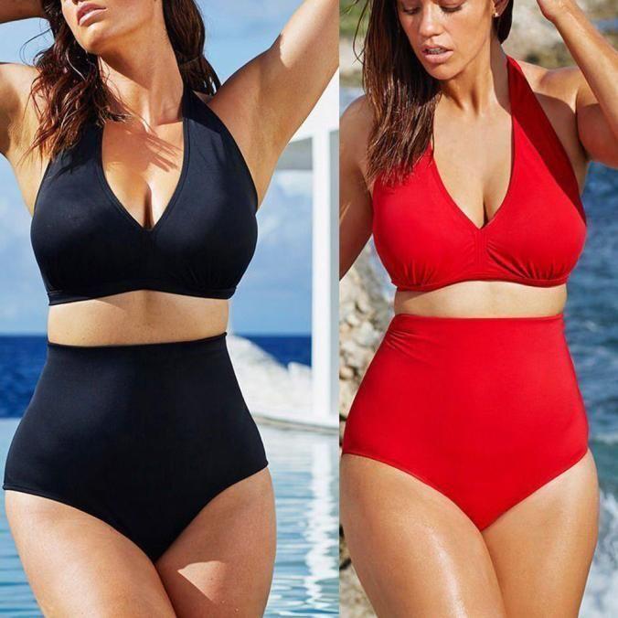 88b1725f7e Women Push Up Padded Bra Bikini High Waist Swimwear Swimsuit Beachwear Plus  Size
