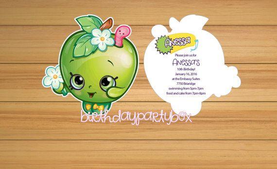 Shopkins invitation  Shopkins apple blossom by BirthdayPartyBox