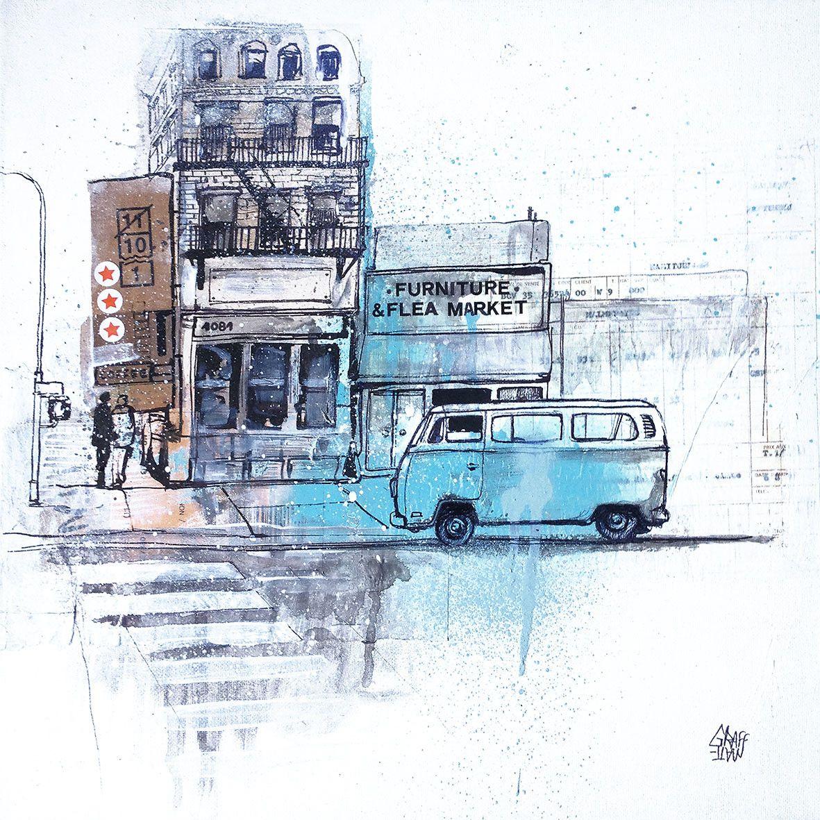 """Brooklyn Van"" by GRAFFMATT #graffmatt #brooklyn #van #painting #art #urbanart #urbanscene #urban #city #cityscape"