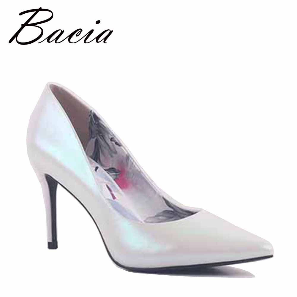 81cefe5d031 Bacia White Pearl Shining Leather Shoes women 8.7cm High Heels ...