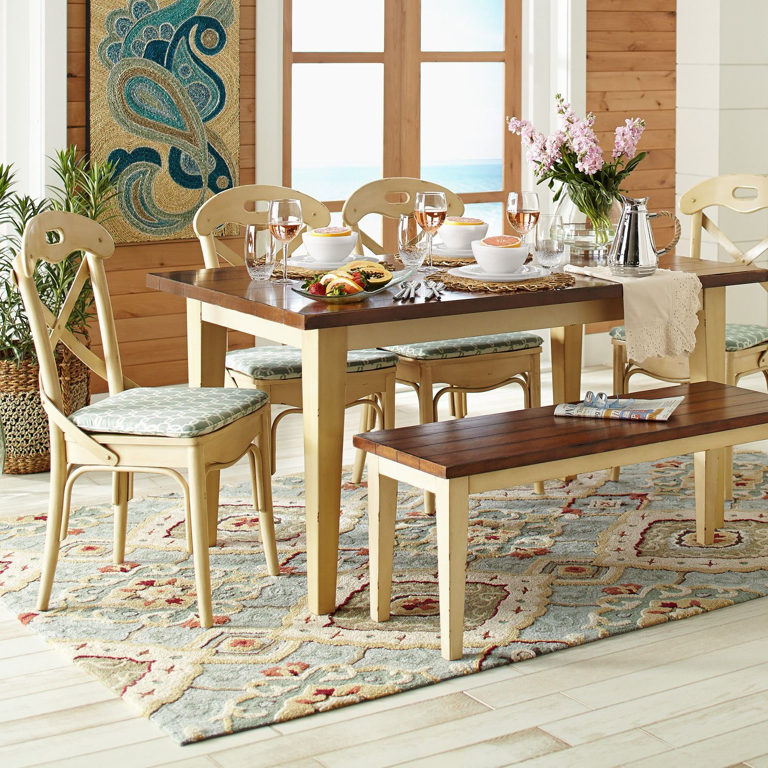 Antique wood dining tables farmhouse dining set  antique ivory  mahogany  furniture sets