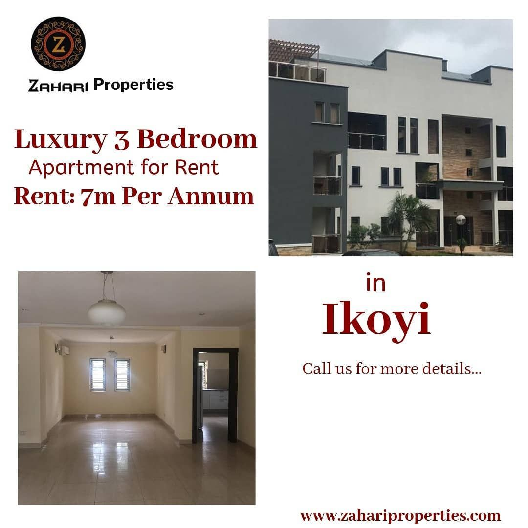 3 Bedroom Apartment For Rent Location Ikoyi Rent 7 000 000 Service Charge 2 500 000 Feature S Apartments For Rent 3 Bedroom Apartment Spacious Living Room