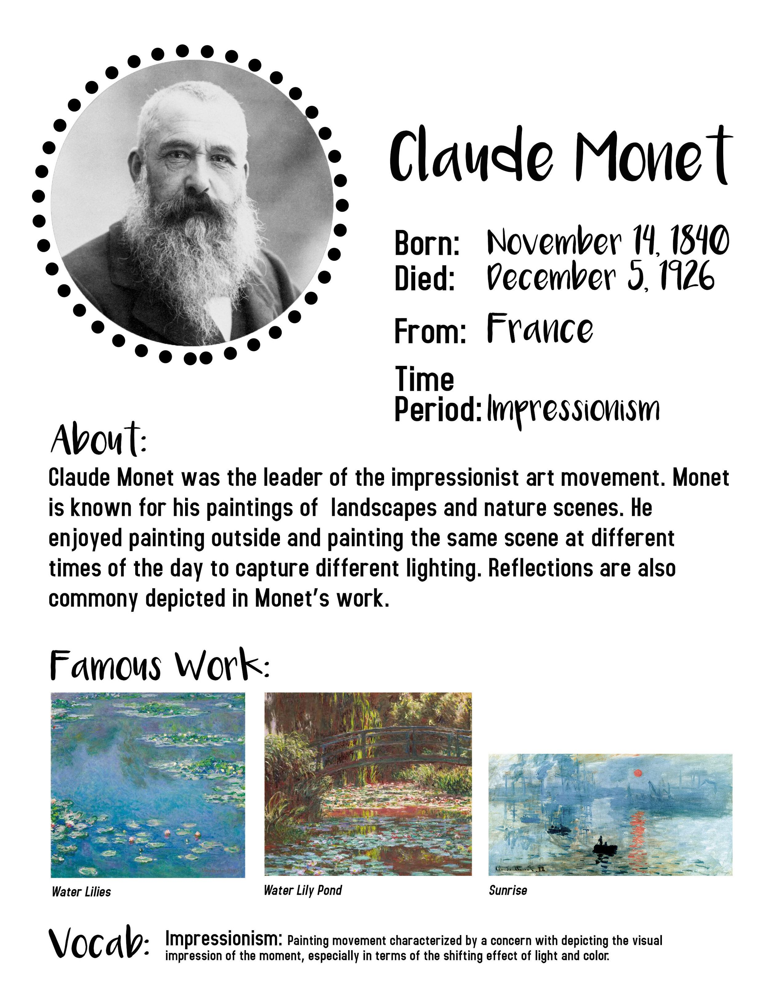 At Home Art Lessons for Kids     Claude Monet — KayDee Runkel art+design