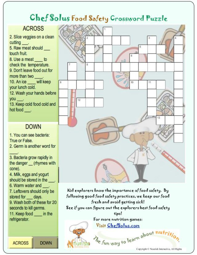 Food Safety Crossword Puzzle Servsafe Food Safety