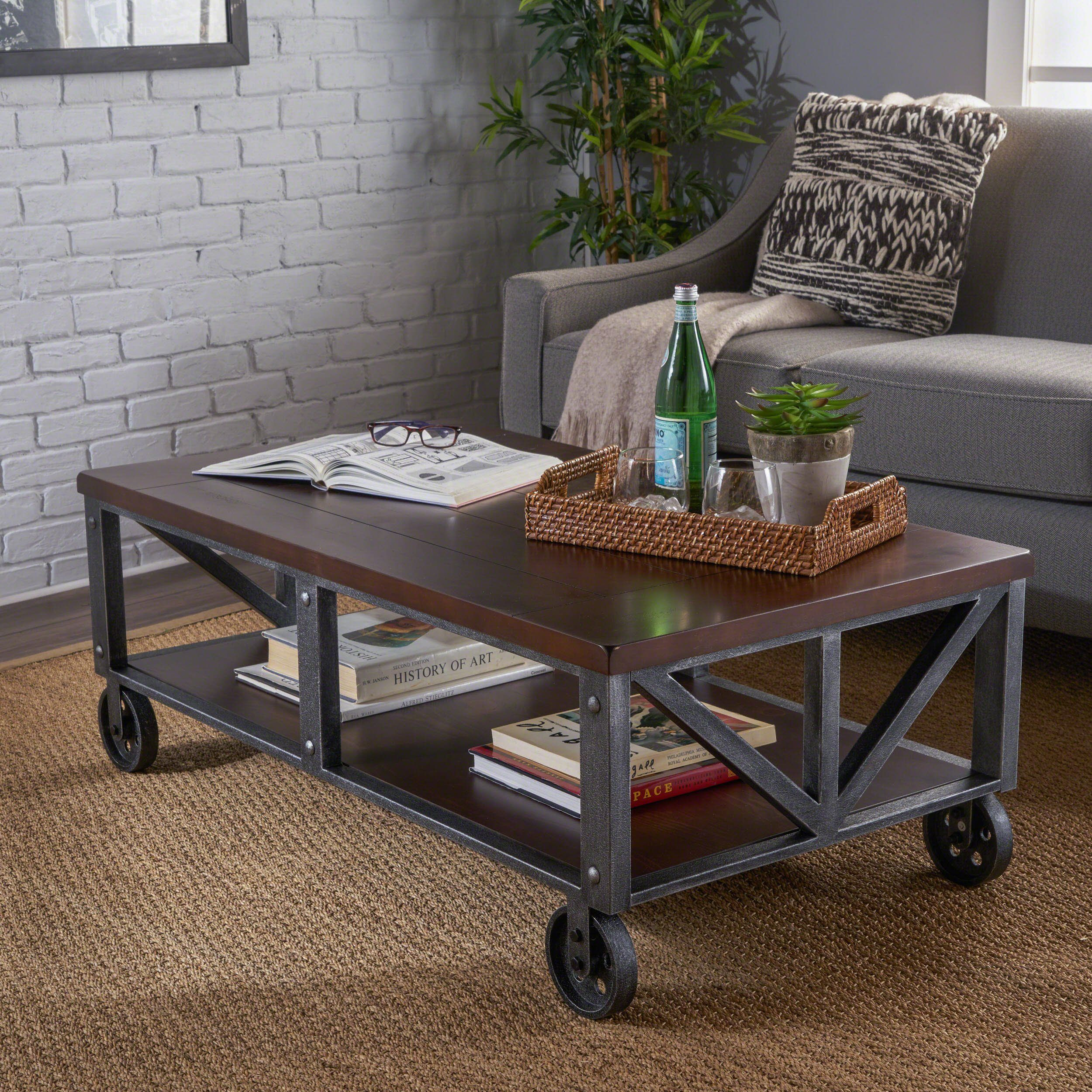 Dresden industrial faux wood coffee table with antique