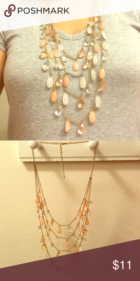Forever21 peach/white gold layered long necklace Peach, white and gold layered long necklace. Has some clear jewels too. Forever 21 Jewelry Necklaces