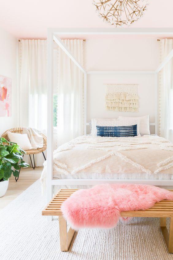 Déco scandinave rose : Une chambre à la déco scandinave féminine ...