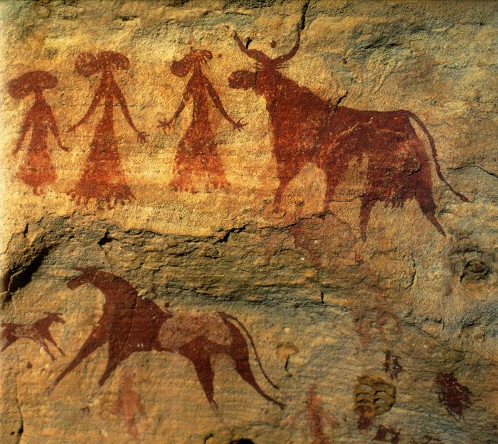 Women and Cattle. African Rock Art Archive - Chad, North Central ...