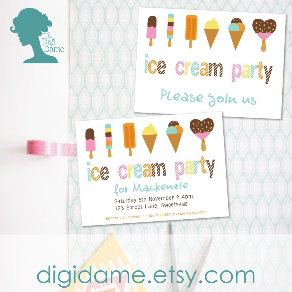Pastels Ice Cream Party Invitation - Download, Edit & Print at home ...