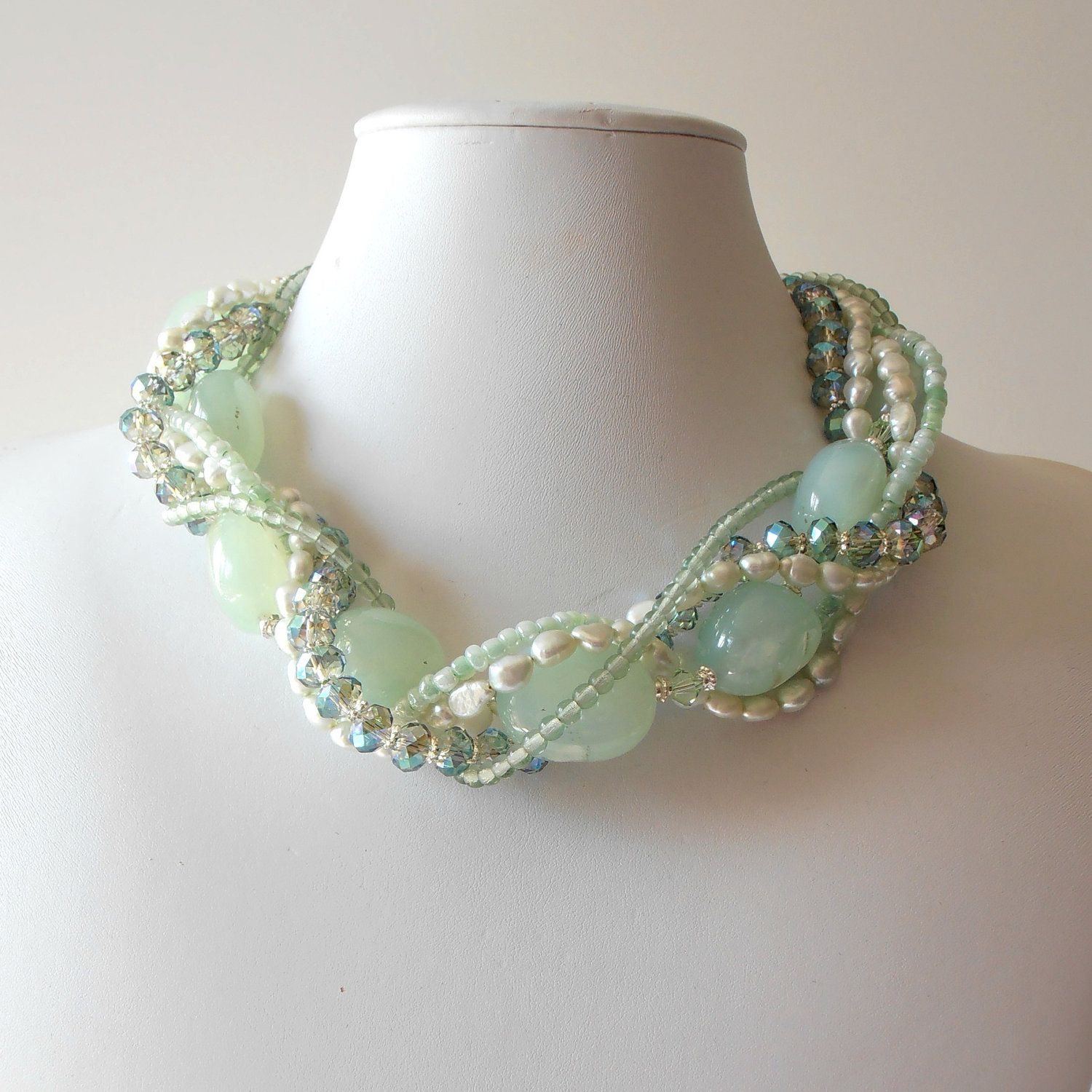 Chunky Necklace Seafoam Green Gemstone Pearl Crystal Silver Beaded