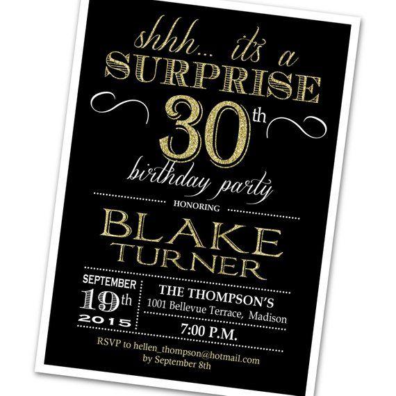 surprise 30th birthday invitation any age black gold invite