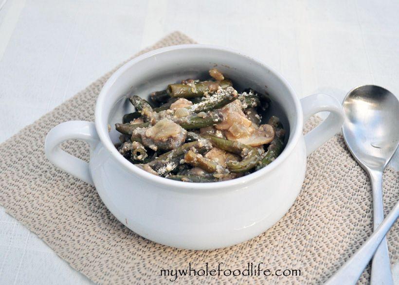 Healthy Green Bean Casserole.  Vegan with a gluten free option.