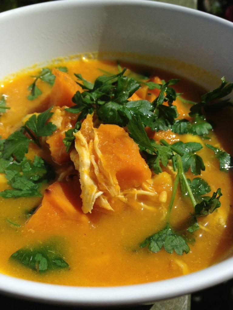 roast pumpkin + chicken + corn soup w/ fresh parsley