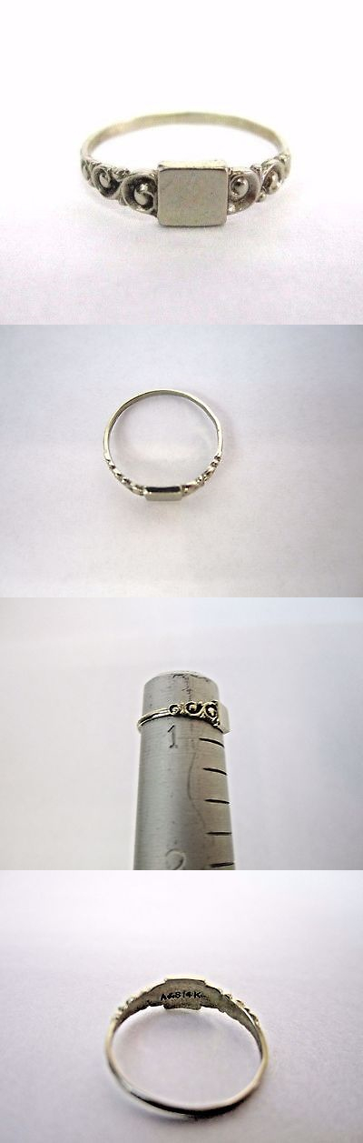Rings 14K 14Kt White Gold Baby Ring Signet 1 Mm Band Size