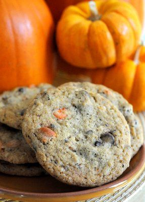 Black and Orange Halloween Chocolate Chip Cookies