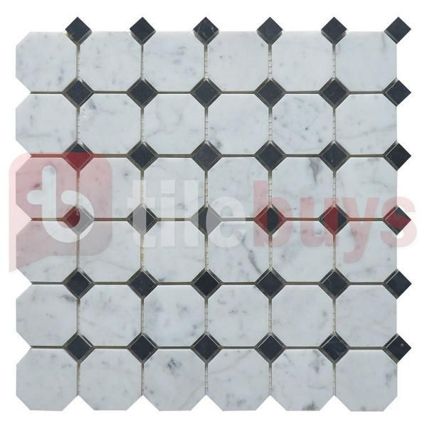 2 Octagon Bianco Carrara White Marble Nero Black Marble Diamond Mosaic Polished White Marble Mosaic Marble Mosaic Mosaic Tiles