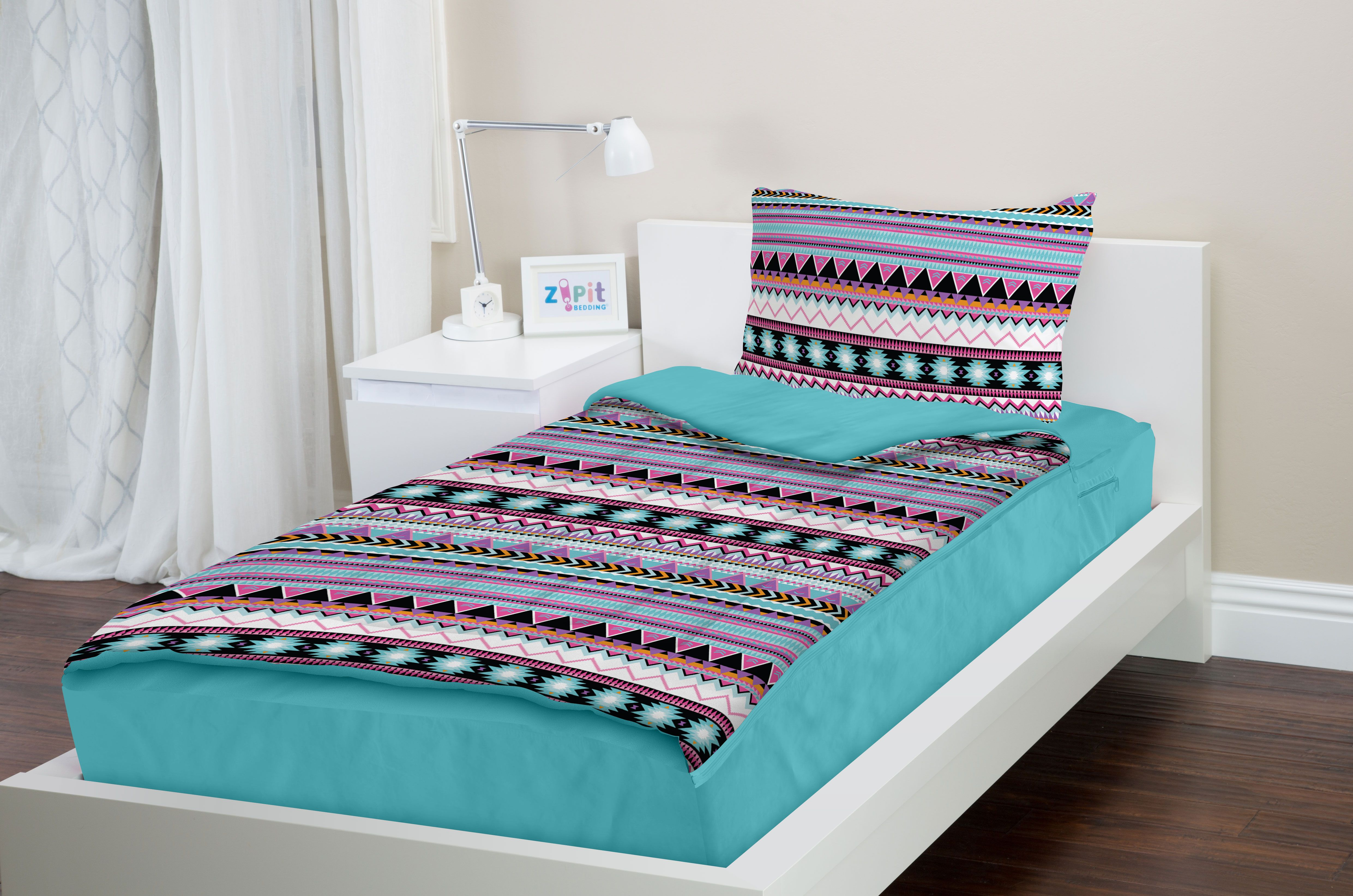 Zipit Bedding Set - Zip-Up Your Sheets and Comforter Like a Sleeping Bag