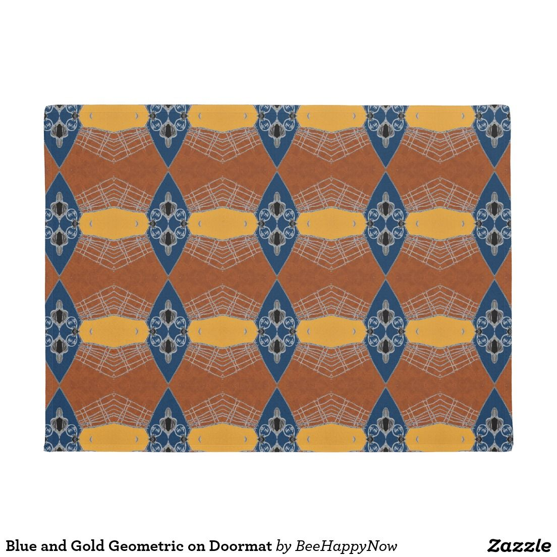 Blue and Gold Geometric on Doormat  sc 1 st  Pinterest & Blue and Gold Geometric on Doormat | Doormat and Gold