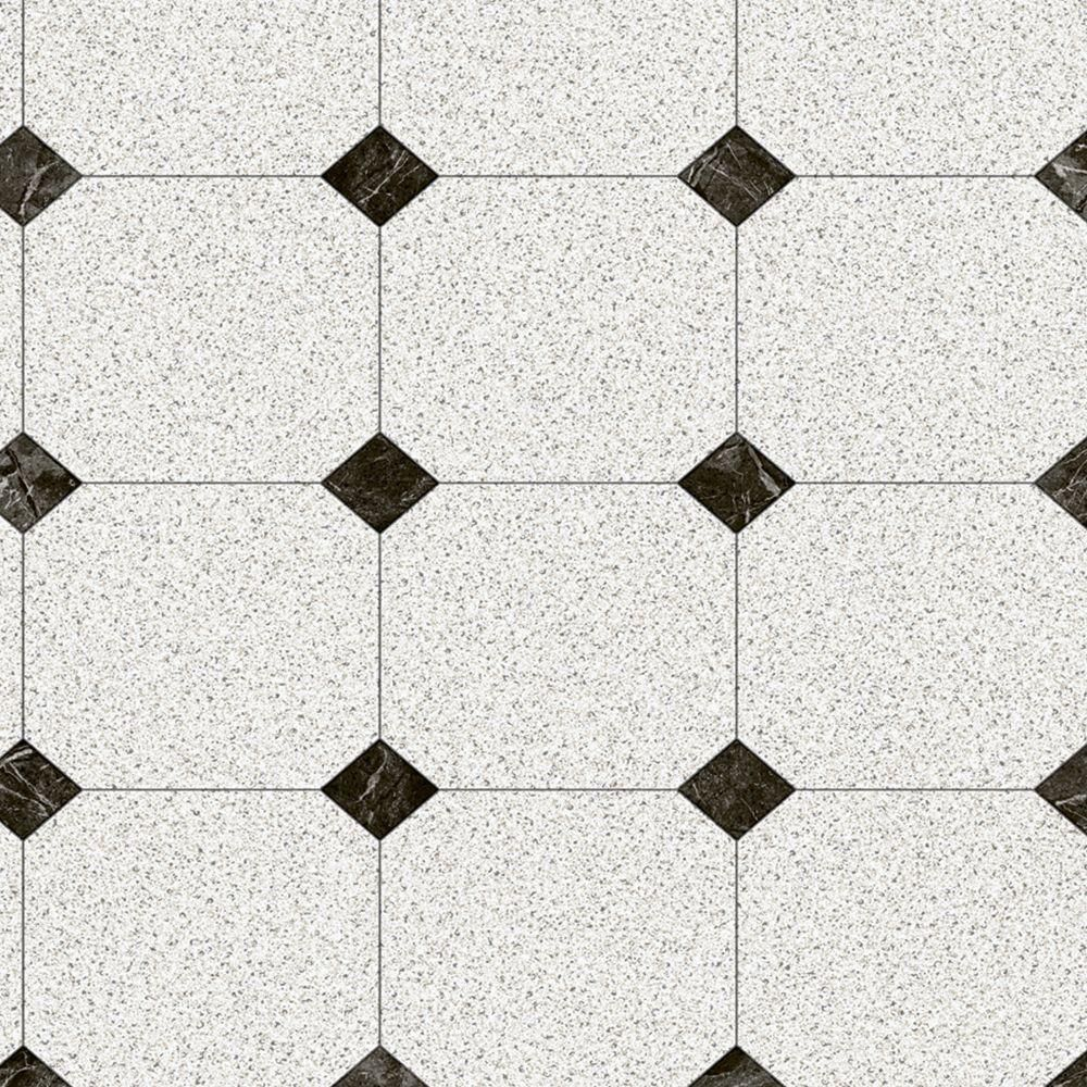 Black and White Decorative Paver Vinyl Sheet 6 in. x 9