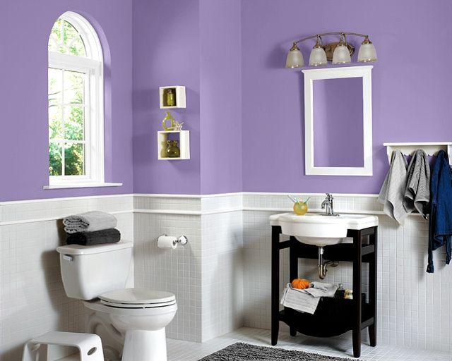 Purple White Bathroom Sherwin Williams Paint Color Sw 6823 Brave Purple Bathroom Ideas
