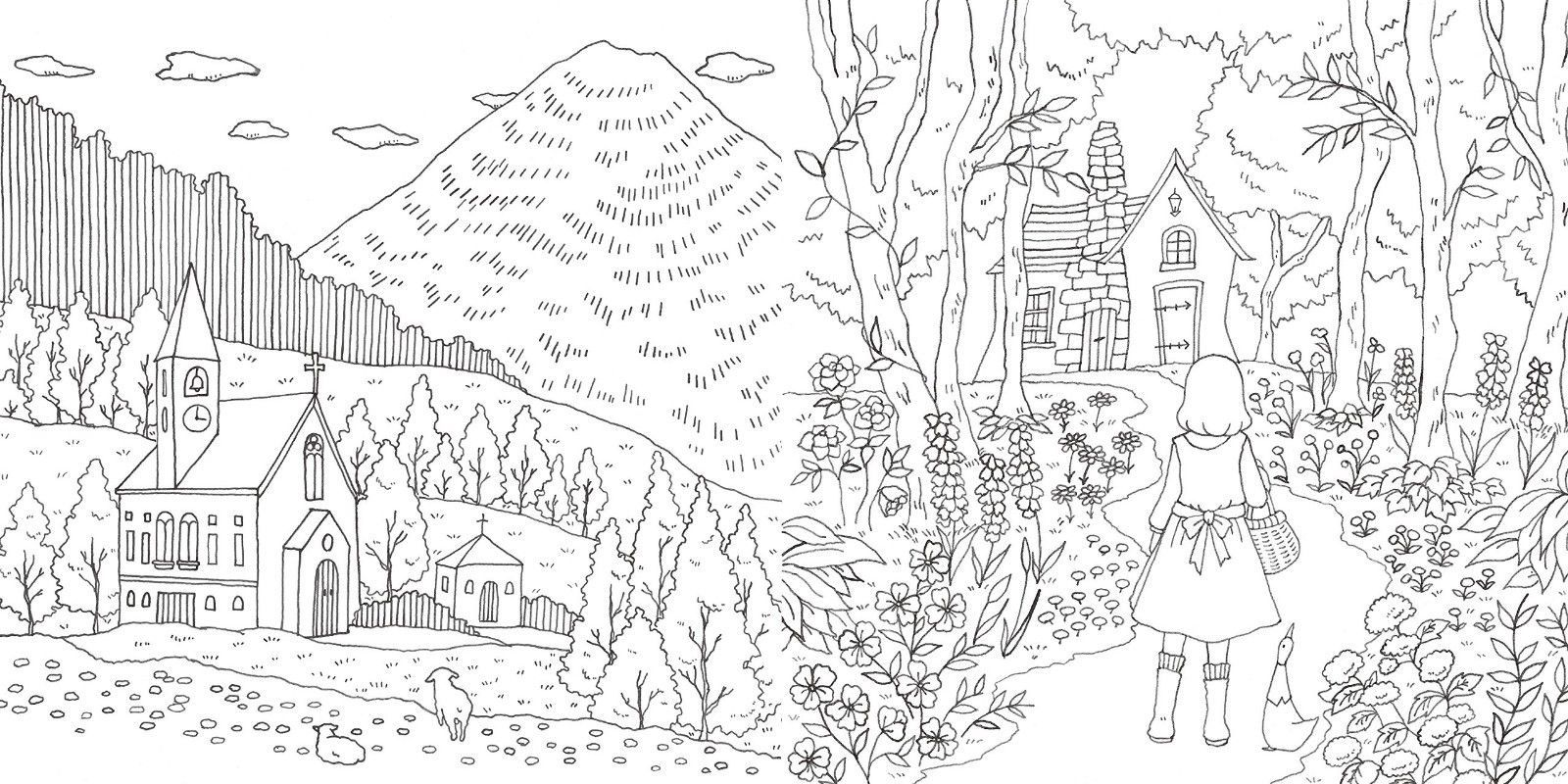 96 pages fantasy coloring book romantic country