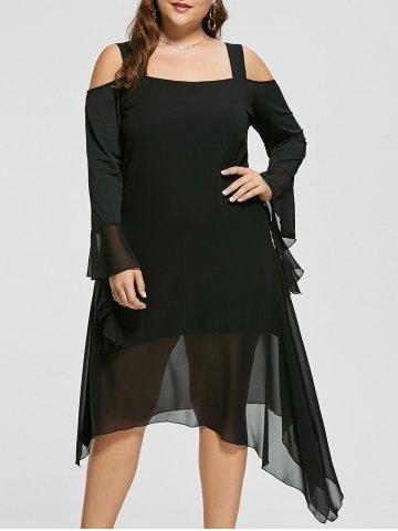a3f35802b26 RoseGal.com - RoseGal Plus Size Cold Shoulder Flare Sleeve Asymmetric Dress  - AdoreWe.com