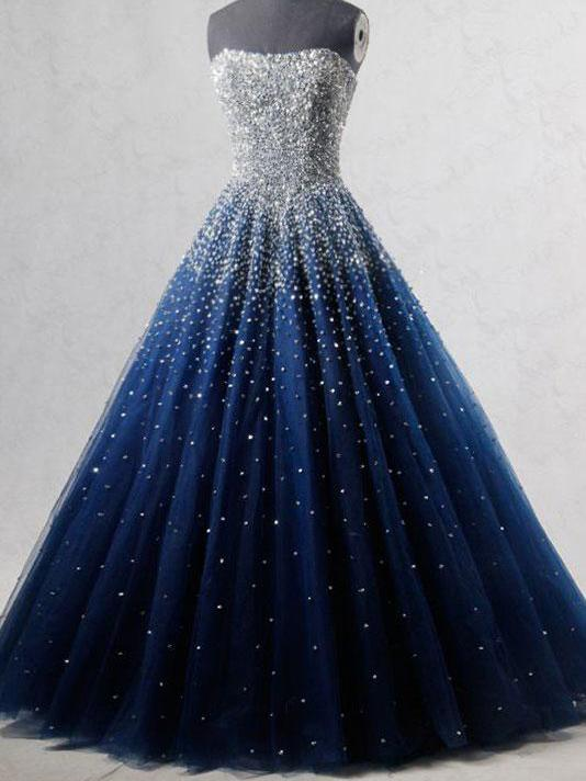 928618e1c203 Sparkly Prom Dresses Strapless Dark Navy Sequins Long Beautiful Prom Dress  JKL1127