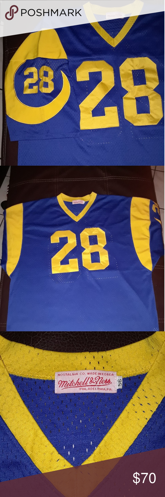 outlet store 48861 3b06f LA rams jersey Marshall faulk throwback jersey Mitchell ...