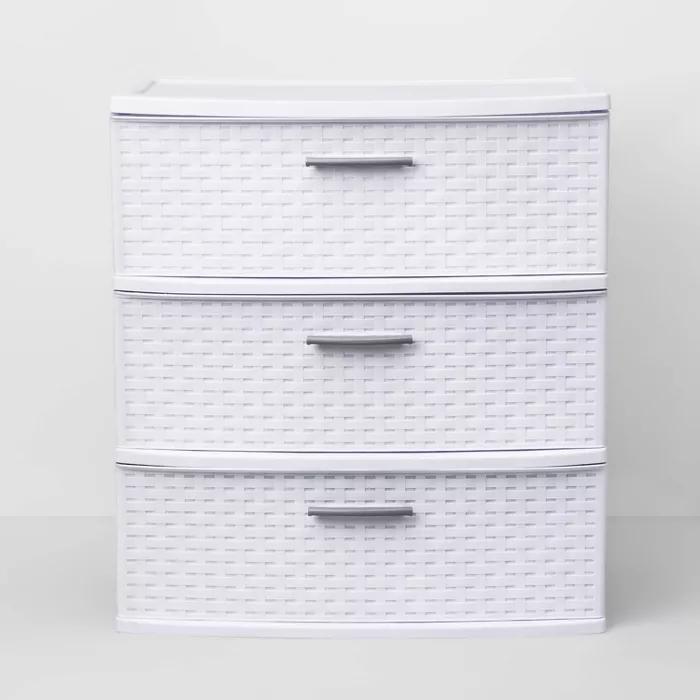3 Drawer Wide Weave Tower White Room Essentials In 2020 Room Essentials Plastic Storage Drawers Utility Storage