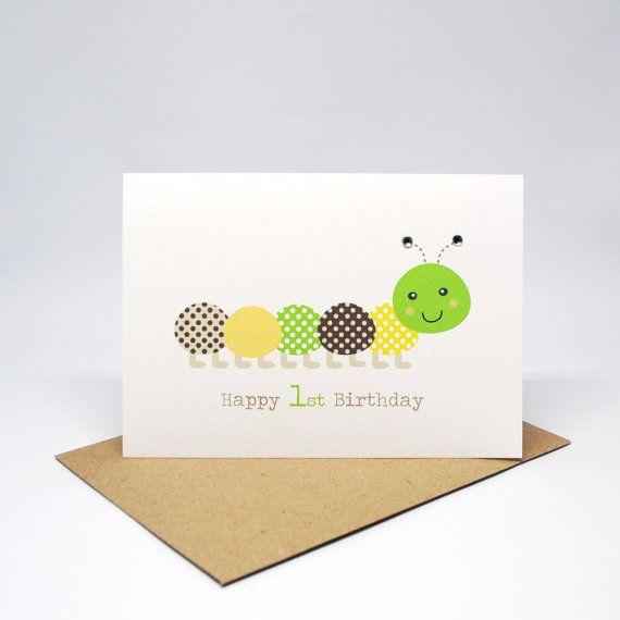 1st Birthday Card Boy Green And Brown Caterpillar Hbc211 Happy