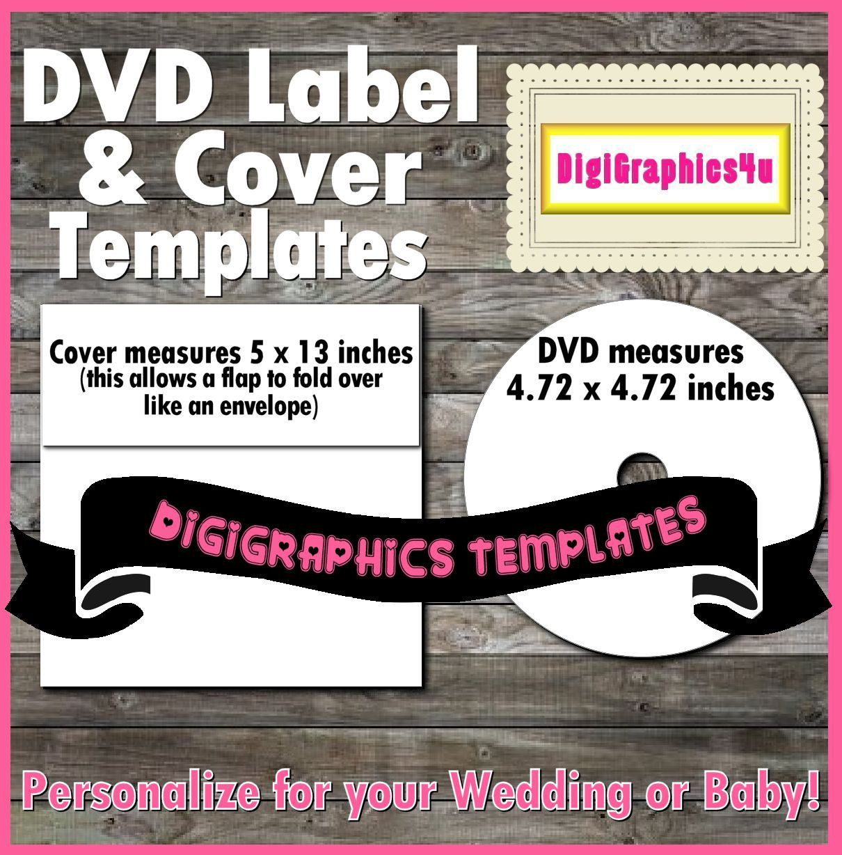 Printable DVD Label and Cover Instant Download PNG Format Digital ...