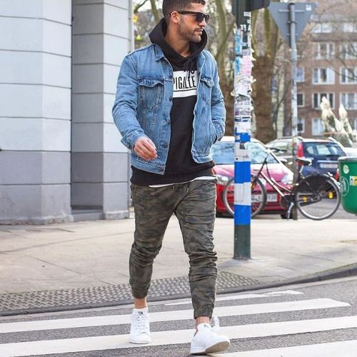 Men's Blue Denim Jacket, Black and White Print Hoodie, Olive Camouflage  Sweatpants, White Low Top Sneakers