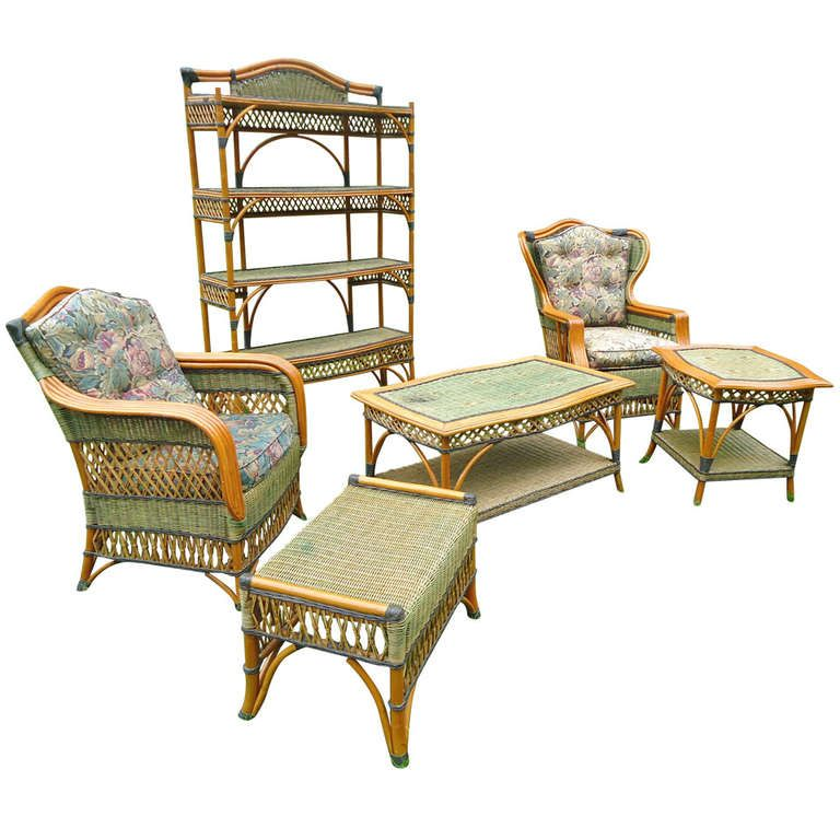 1stdibs Com Vintage Grange Rattan And Wicker Sunroom Set Indoor Wicker Furniture Wicker Furniture Outdoor Furniture Sets
