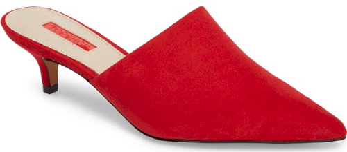 Topshop Juice Pointy Toe Mule In Red A Dramatically Pointed Toe Accentuates The Elongated Vamp Of A Chic Mule Set